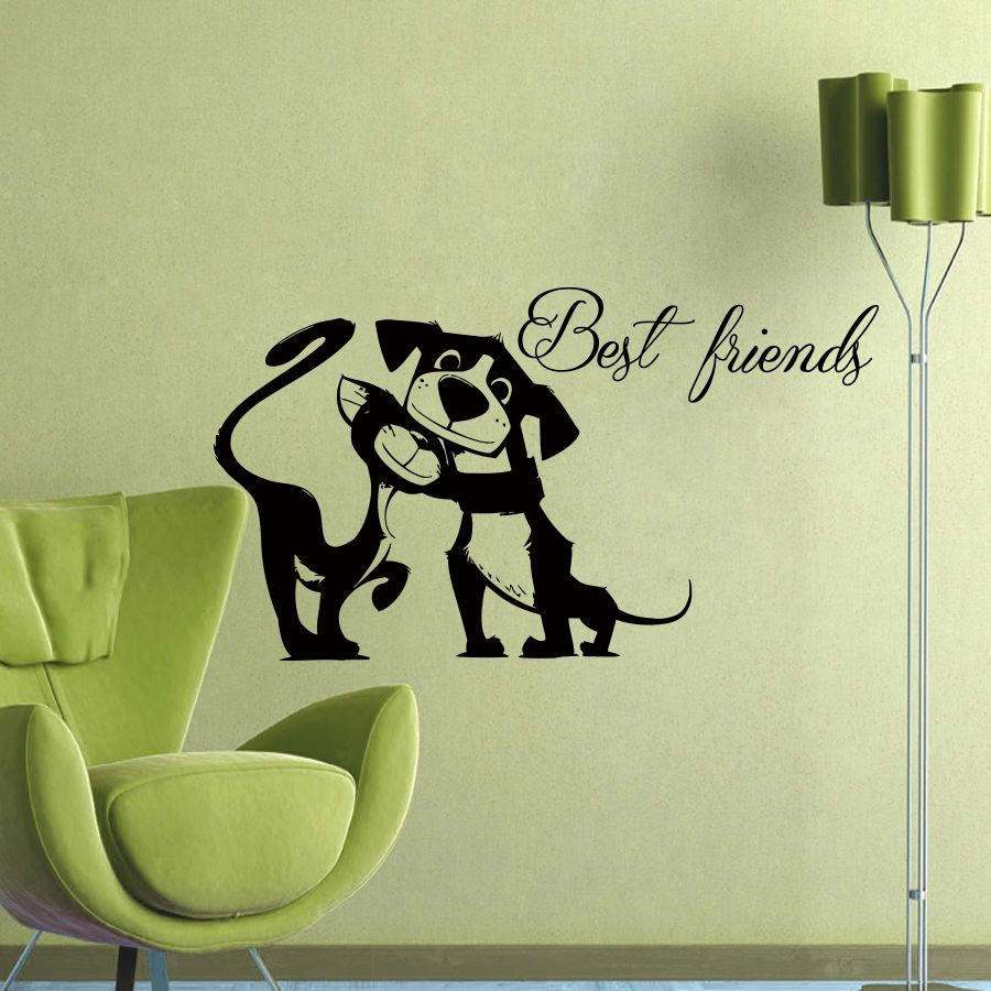 HWHD 2016 new funny animal Dog Wall Decals Best friends Decal ...