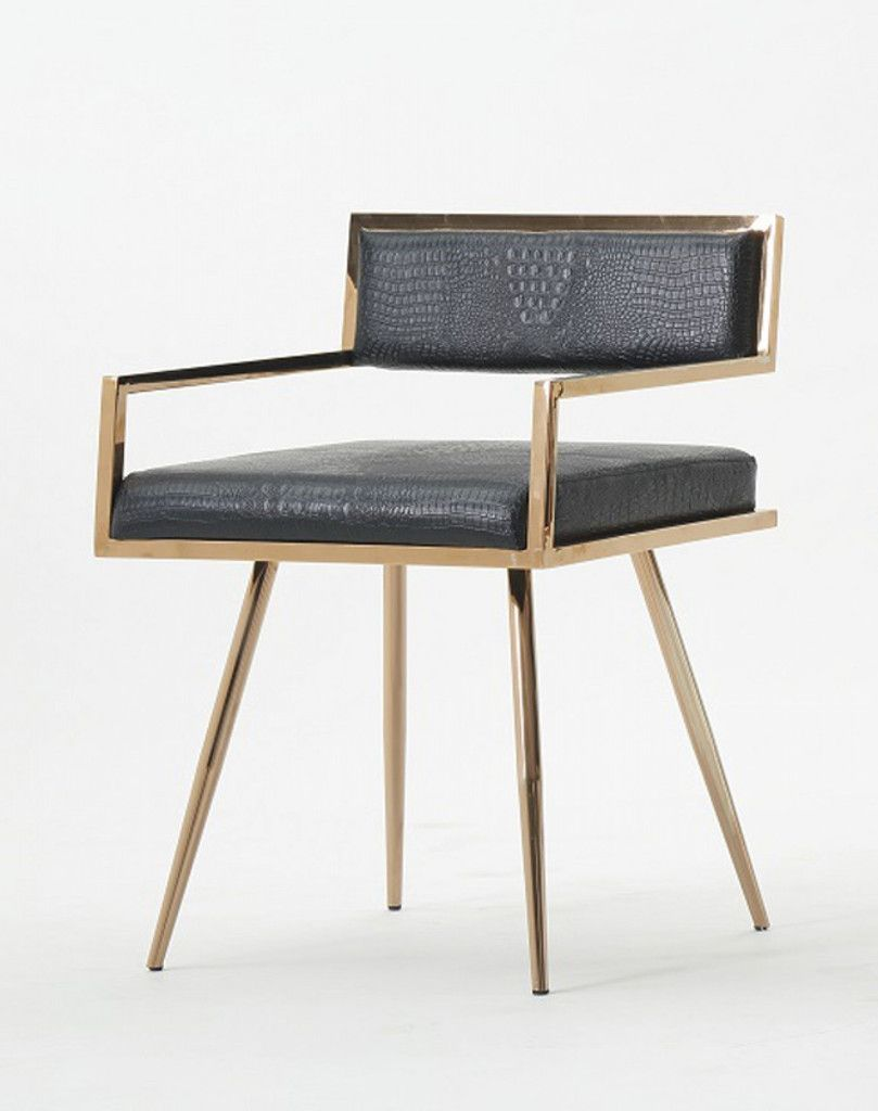Modrest Rosario Modern Black Rosegold Dining Chair Gold Dining Chairs Metal Dining Chairs Modern Dining Chairs