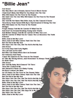 Michael jackson billie jean lyrics sheet free printable for Michael jackson billie jean coloring pages