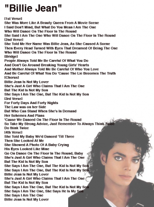 Michael Jackson Billie Jean Lyrics Sheet Michael Jackson Songs Lyrics Michael Jackson Lyrics Jackson Song J jackson 5 diana ross presents the jackson 5. michael jackson billie jean lyrics