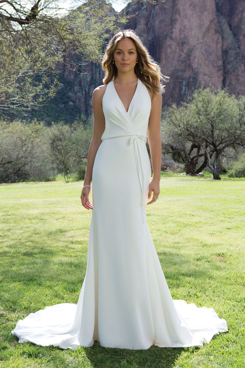 Sweetheart gowns style crepe vneck gown with draped open