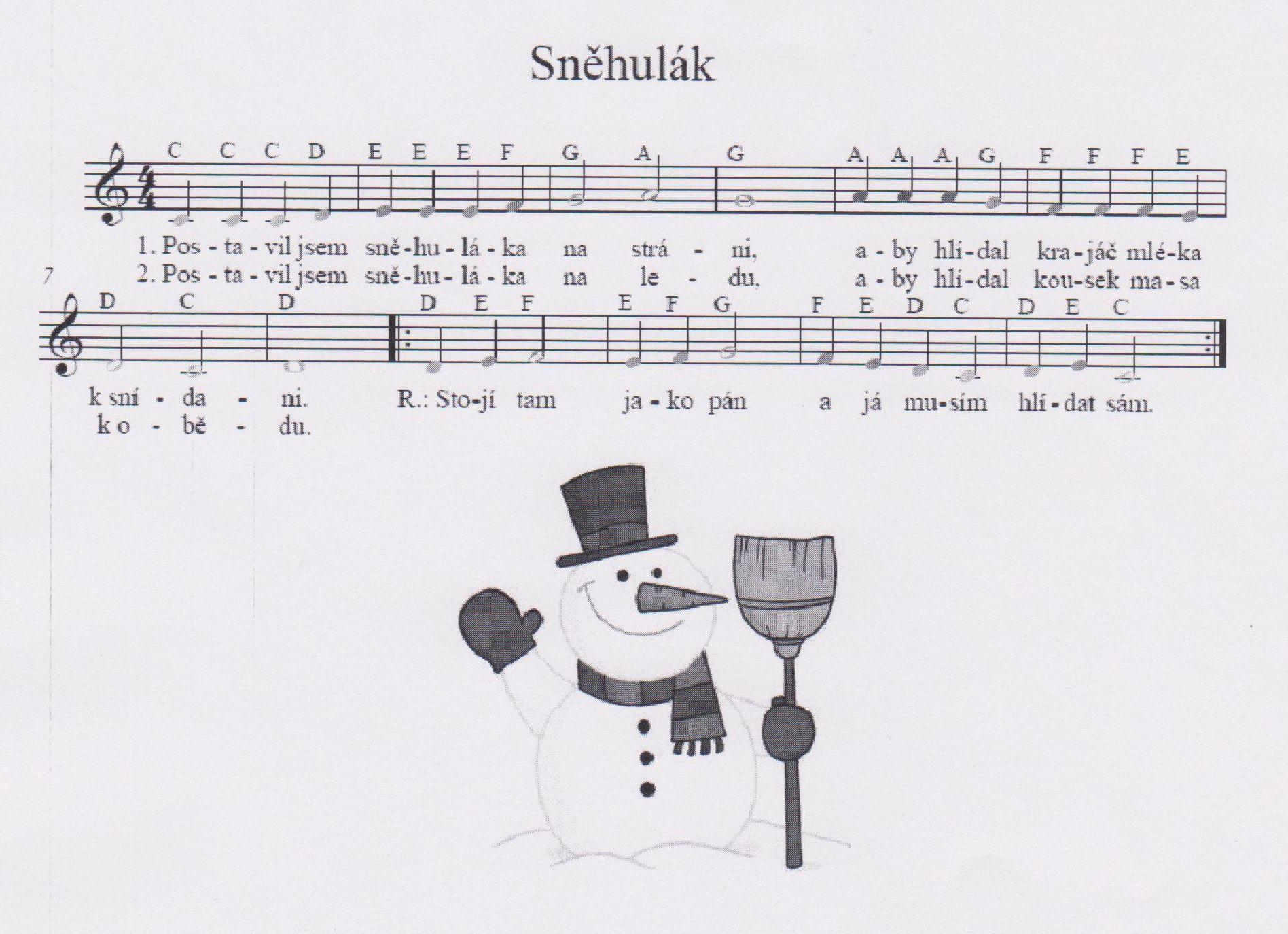 Výsledek obrázku pro sněhulák písnička