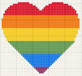 Rainbow hearts cross stitch designs for Valentines day