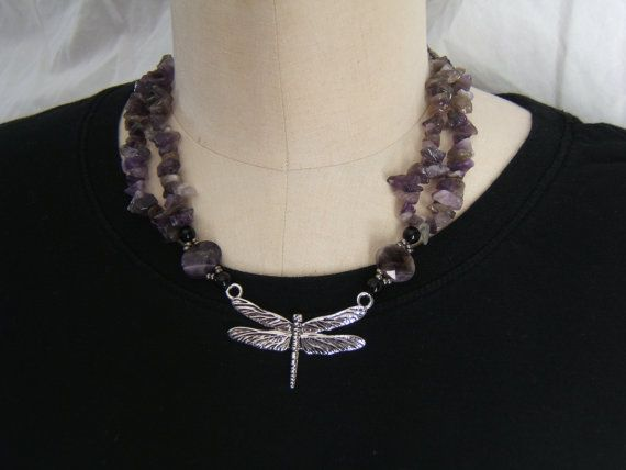 Dragon fly and amethyst necklace by NewClassicBohemian on Etsy, $25.00