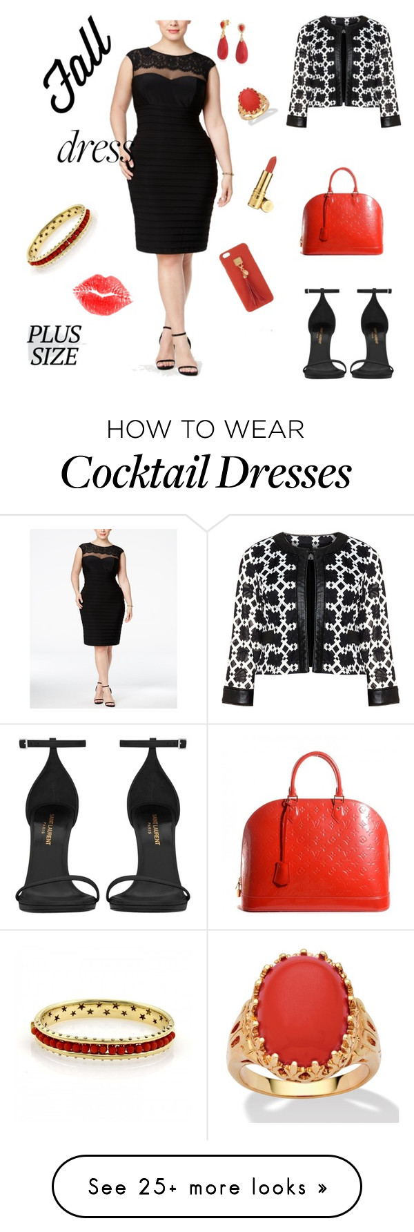 """Fall Dress Plus"" by shaejay on Polyvore featuring XSCAPE, Tia, Yves Saint Laurent, Louis Vuitton, Palm Beach Jewelry, Henri Bendel, Bling Jewelry, H.Stern, NYX and Elizabeth Arden"
