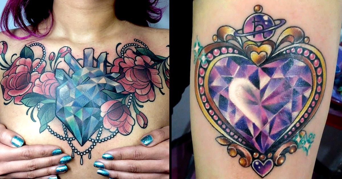 e7d4b80f21b98 Colorful and sparkling crystal heart tattoos that you will definitely love.