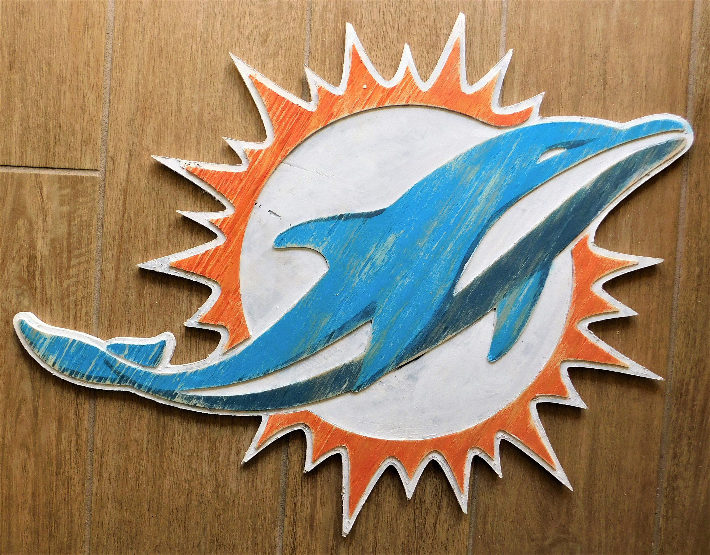 Miami Dolphins Wooden Wall Hanging Sign Etsy Wooden Wall Hangings Hanging Signs Wall Hanging
