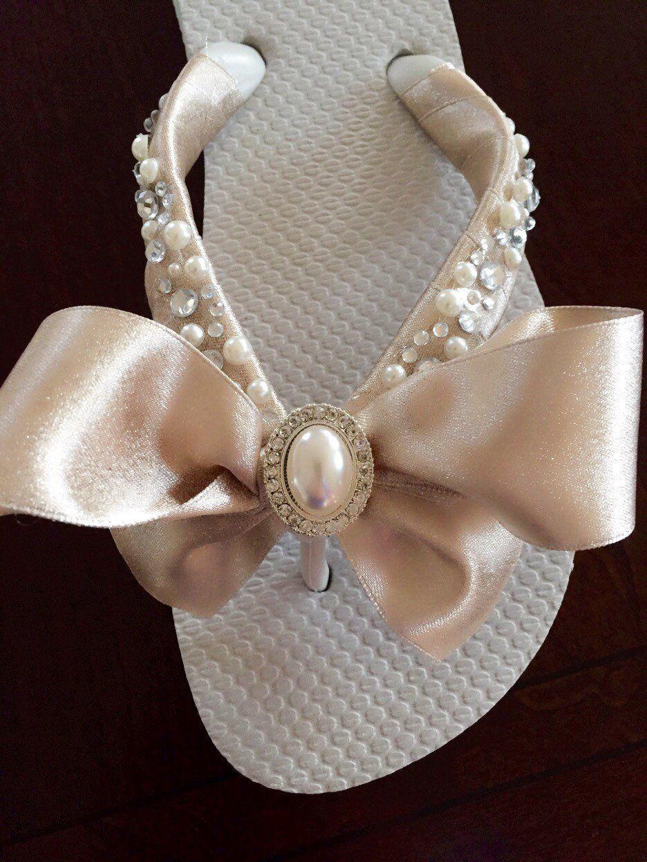 2e204fd60f777b Wedding Flip Flops Wedges Shoes.BRIDAL Flip Flops. Flip Flops. Ivory ...