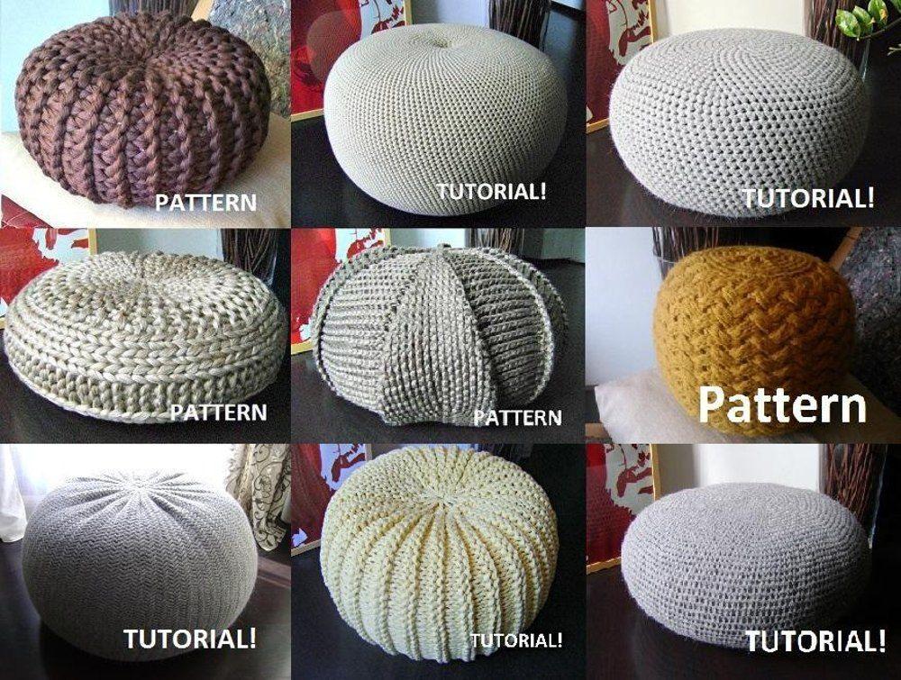 9 Knitted Crochet Pouf Floor Cushion Patterns Crochet Pattern Knit