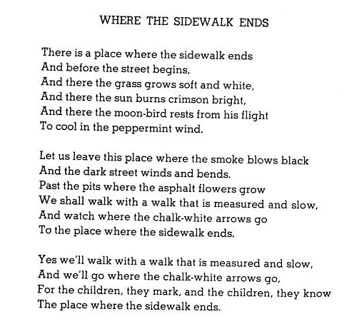 Image result for shel silverstein where the sidewalk ends poems