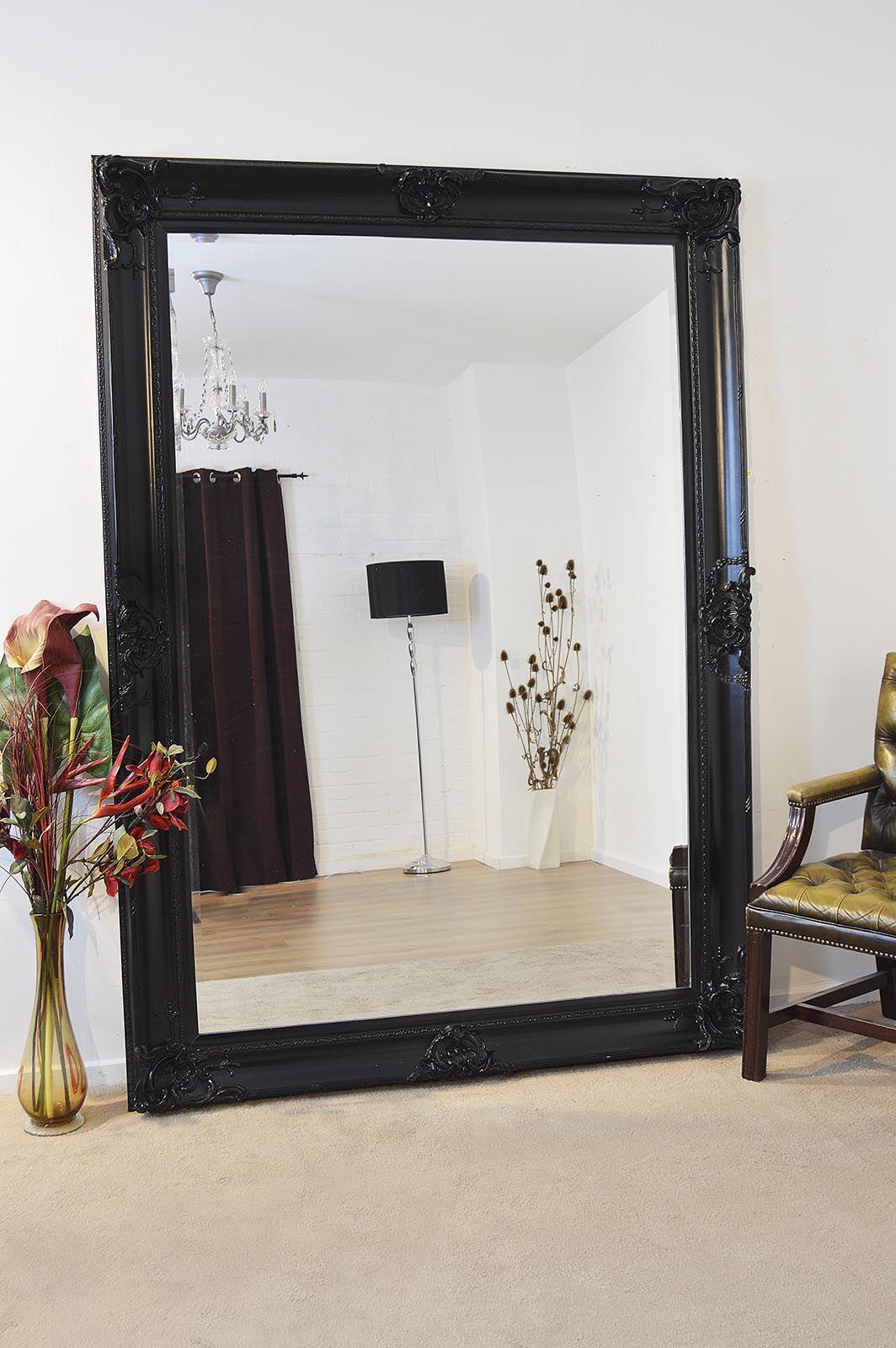 Honiton Extra Large Black Mirror 213x152cm Soraya Interiors Uk Large Black Mirror Black Mirror Frame Large Floor Mirror