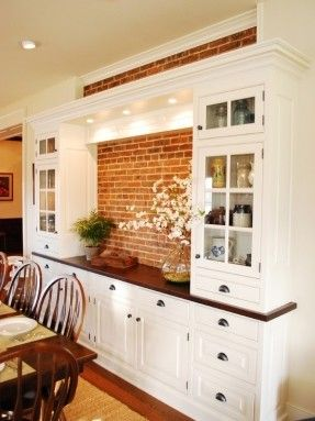 Good I Like The Built In Dining Room Hutch And Cabinets With Exposed Stone.