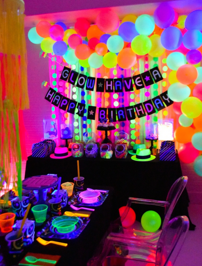12 Glow In The Dark Party Decorations Ideas In 2020 Neon Birthday Party Glow Birthday Party Glow Birthday