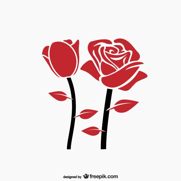 Red Rose Clip Art Vector Free Rose Illustration Flower Silhouette