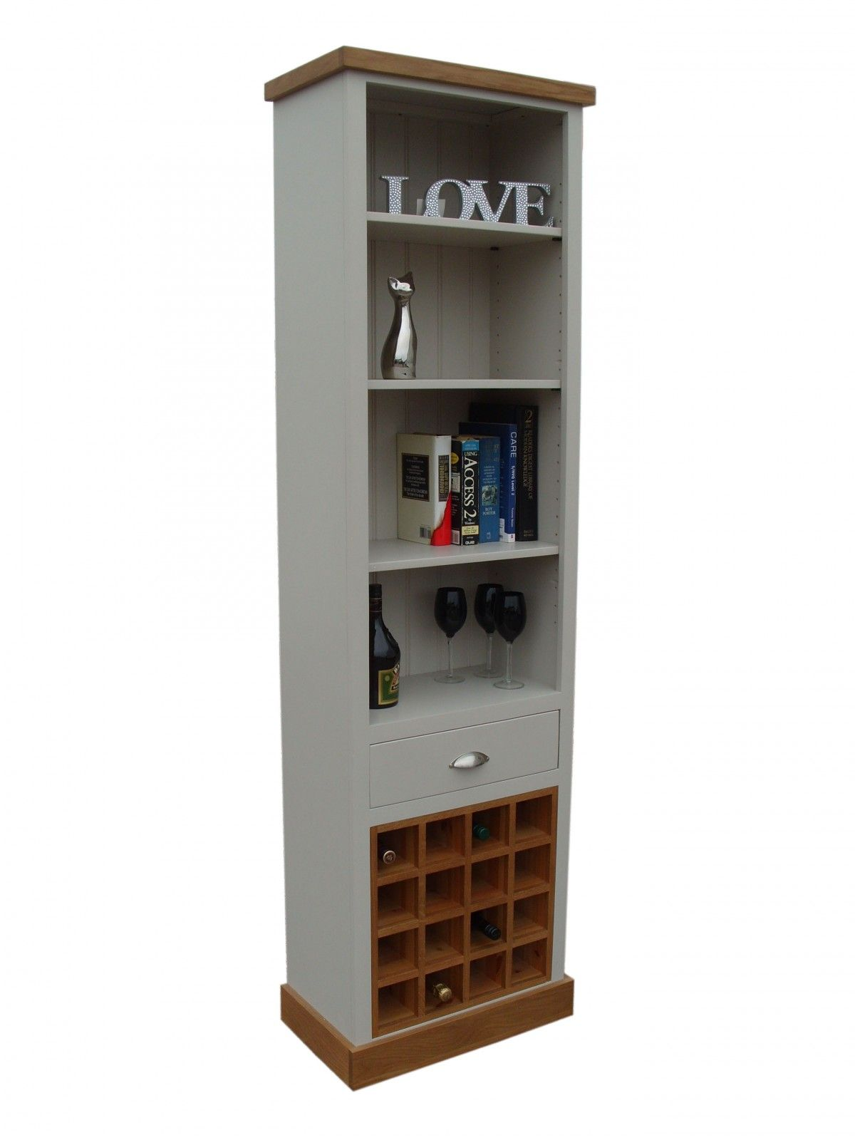 Bookcase with Oak Top, Plinth and Wine Rack - Painted with Farrow & Ball