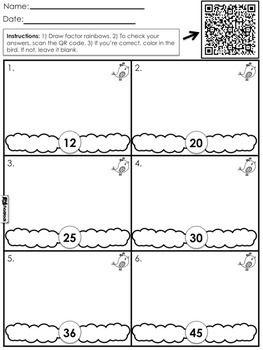 Factor Rainbows Qr Code Math Worksheet Freebie Spanish Too Qr Code Math Math Worksheet Educational Resources Teachers