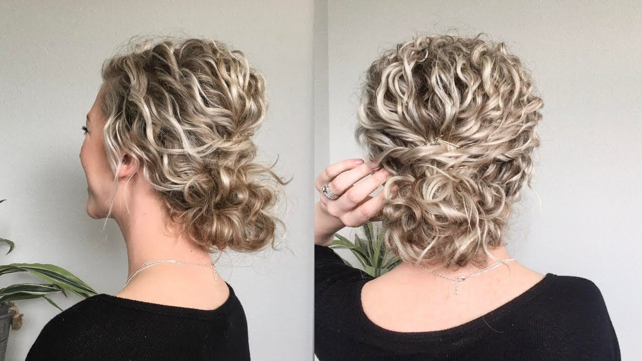 Naturally Wavy/Curly Hair Updo | Naturally curly hair updo, Long ...
