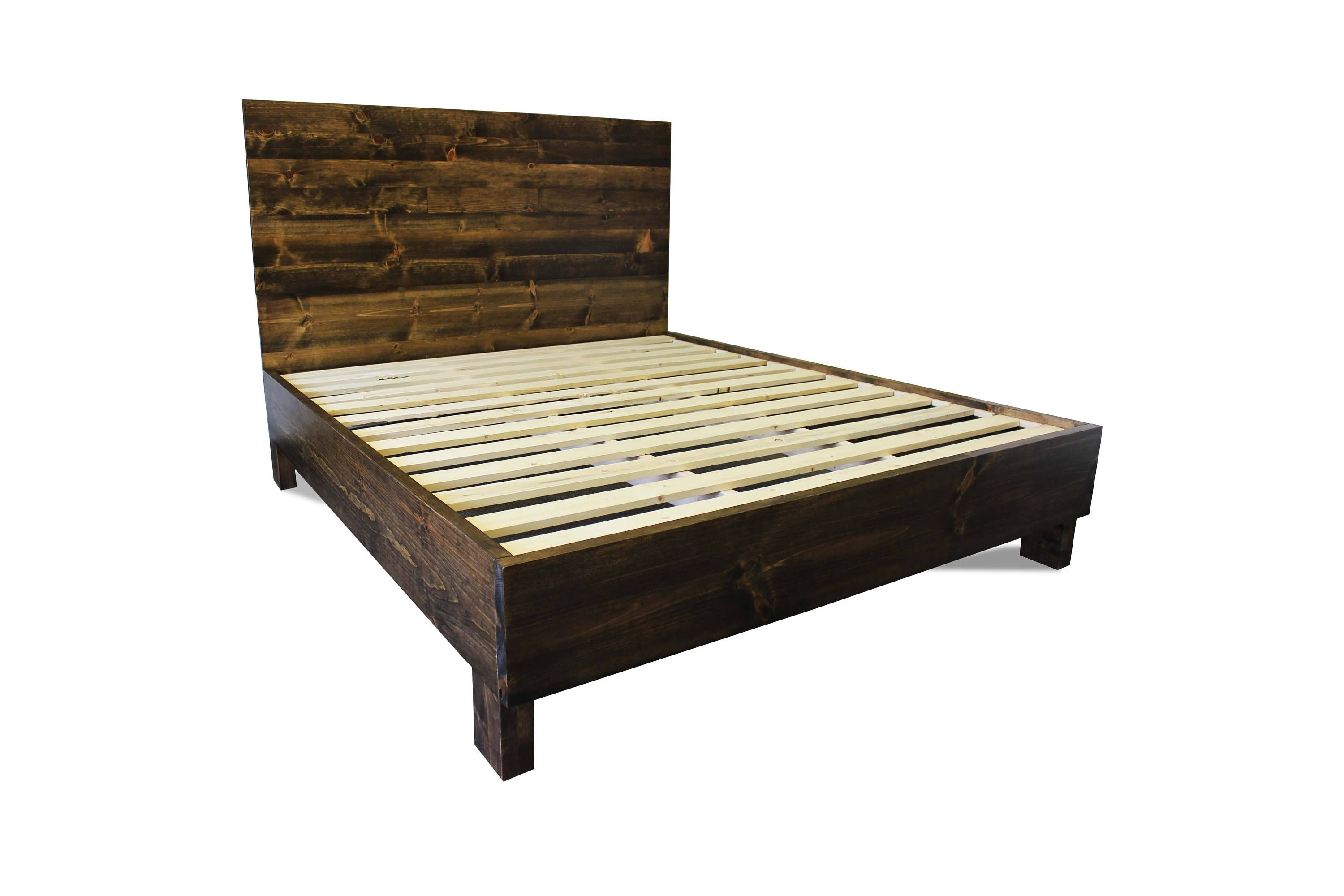 Rustic Solid Wood Platform Bed Frame Headboard Reclaimed Wood