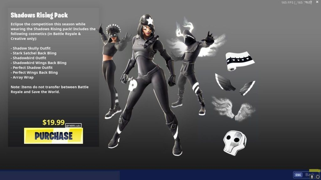 Select Countries Can Now Purchase The Fortnite Shadows Rising Pack Epic Games Began To Push Out The Shadows Rising Fortnite Cosm Dark Legends Fortnite Shadow