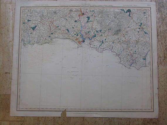 Original Georgian Vintage Antique Map Sheet No 02 England South ...