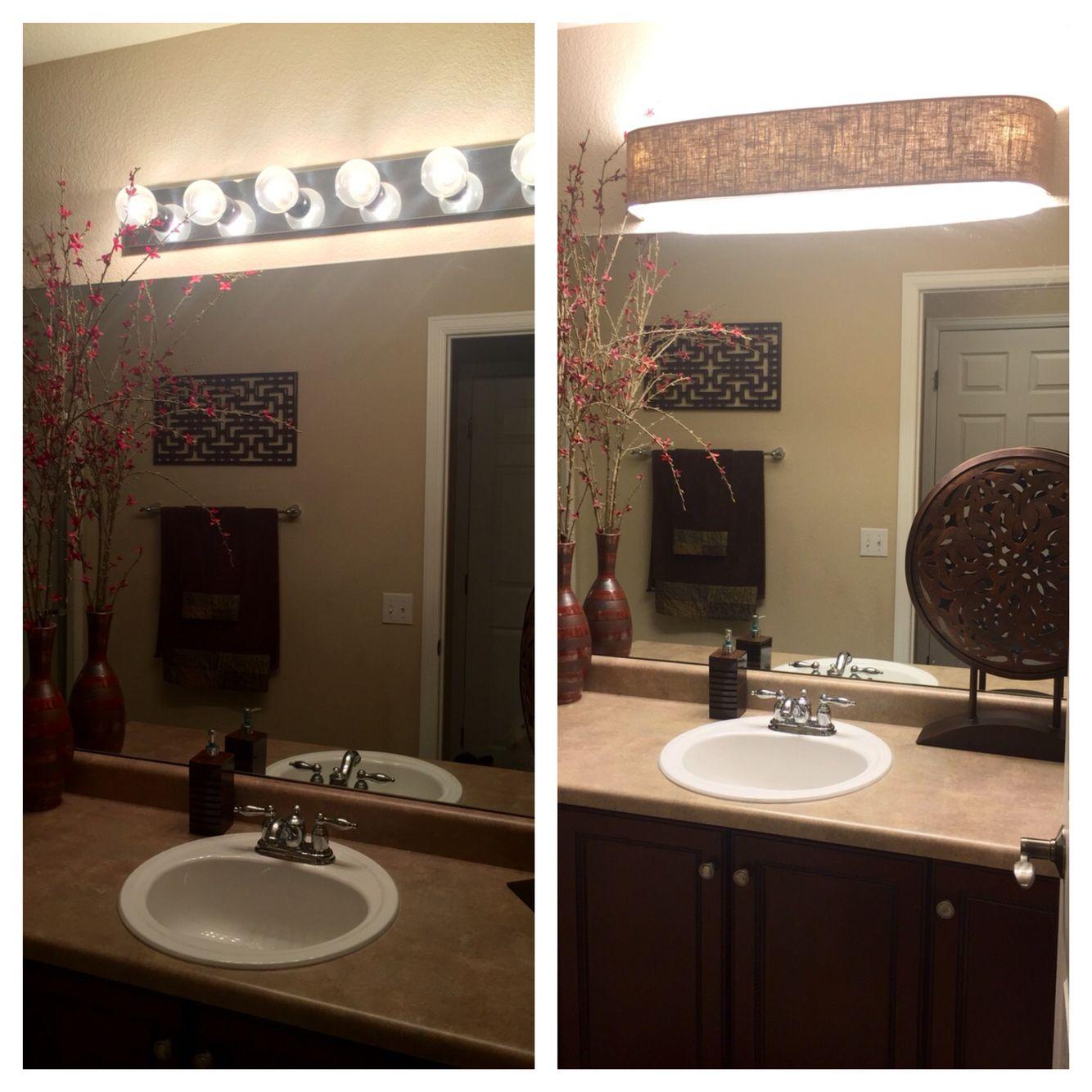My New Bathroom Light Cover Courtesy Of Http M Vanityshadesofvegas Com Url Http Www Vanityshadeso Fixtures Diy Diy Light Fixtures Bathroom Light Fixtures