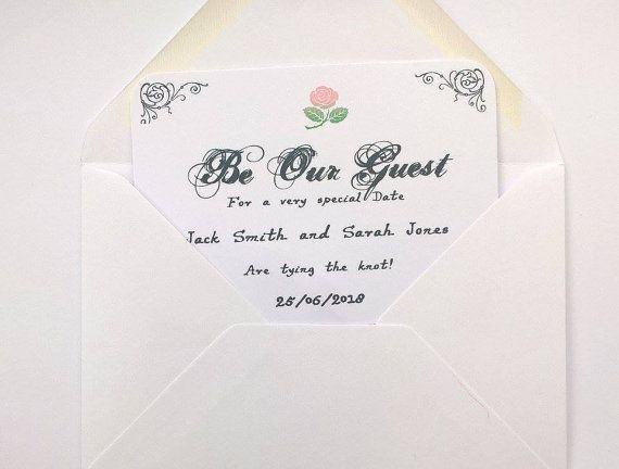 Be Our Guest Save The Date Card Invites Beauty And Beast Inspired