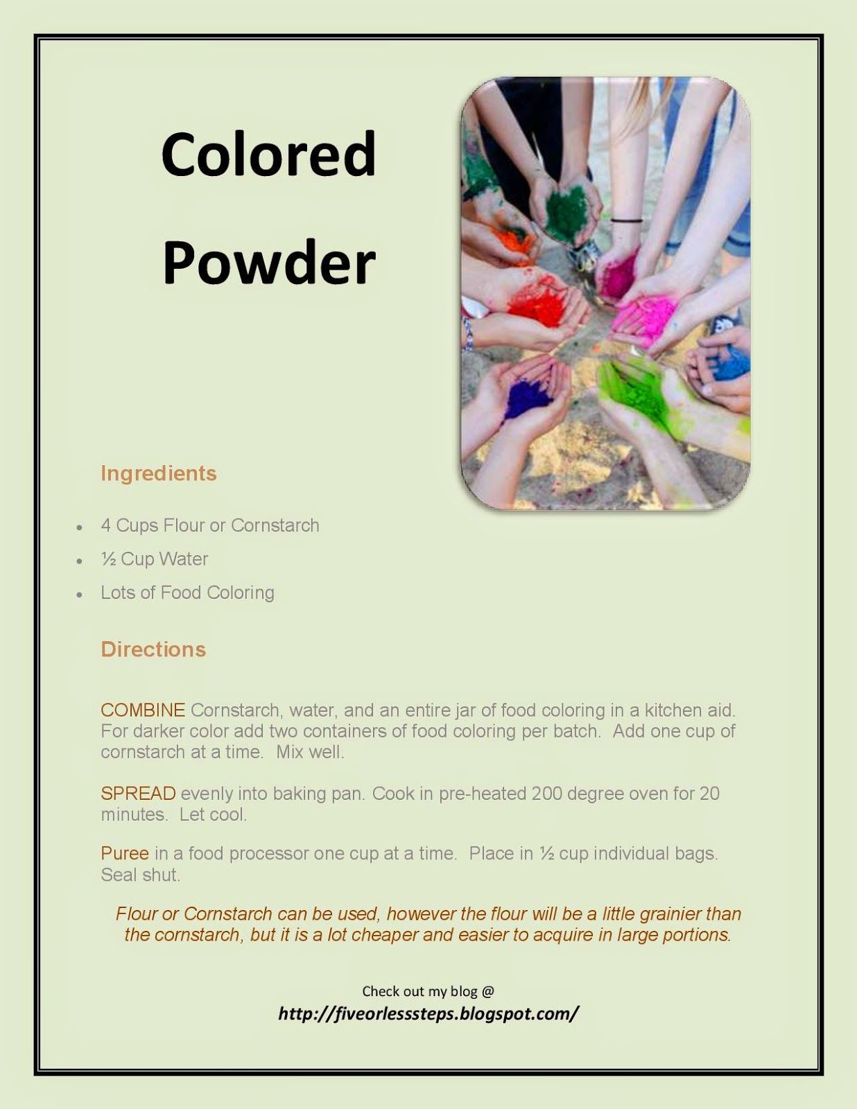hackleman 39 s happenings how to make your own colored powder good ideas pinterest. Black Bedroom Furniture Sets. Home Design Ideas