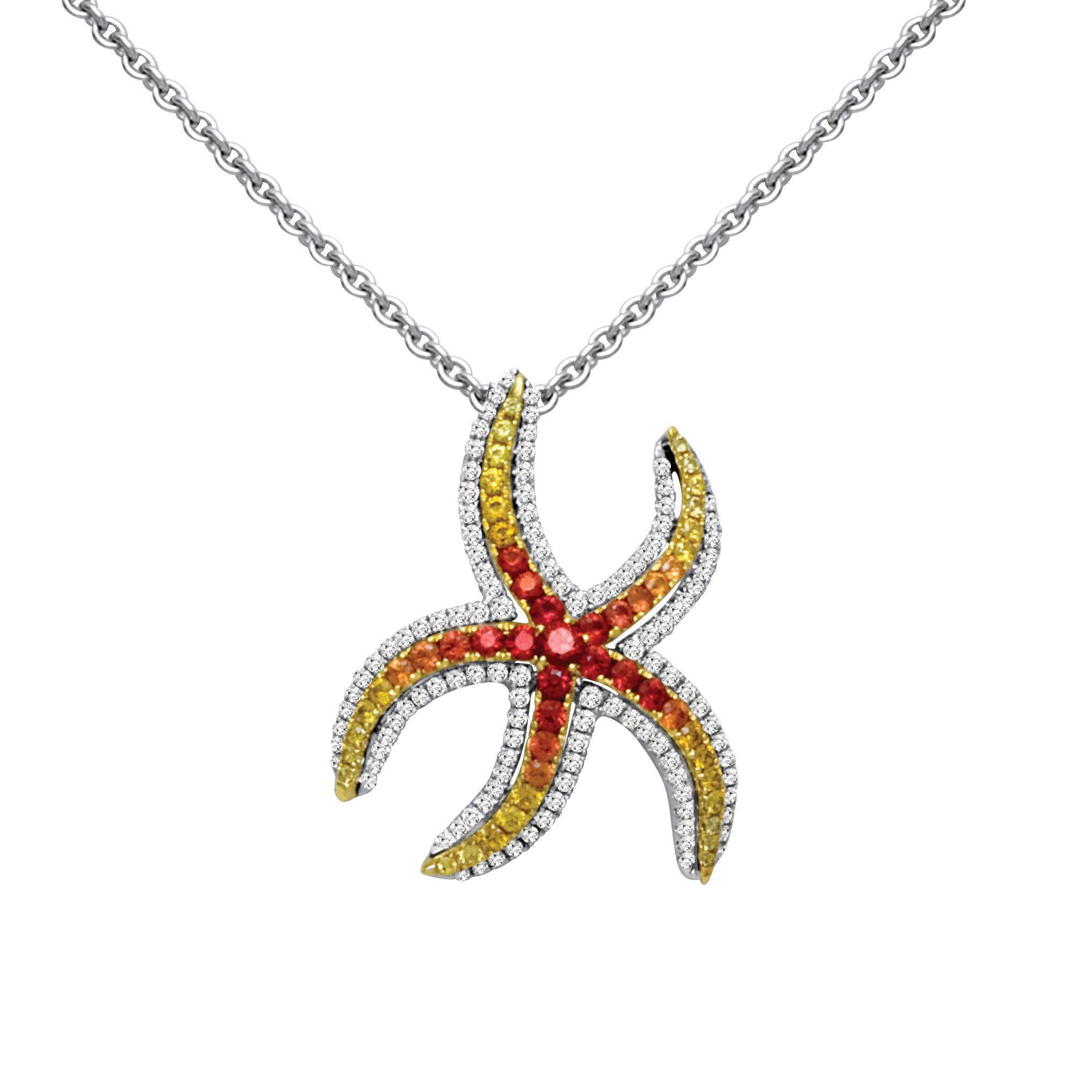 Cherie Dori 18KW Sapphire and Diamond Starfish Pendant