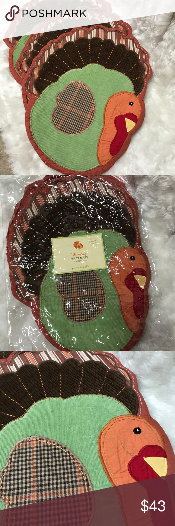 Thanksgiving Turkey Placements New Set 4 Nwt