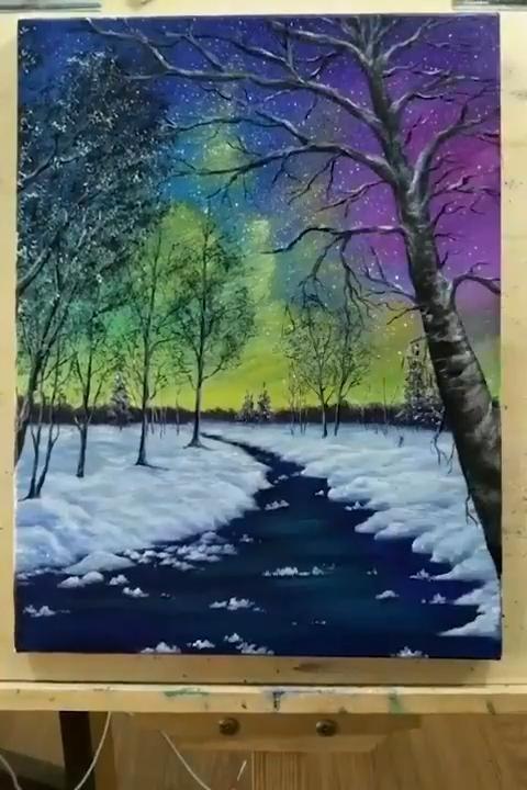 Beautiful Acrylic Painting of Northern Lights