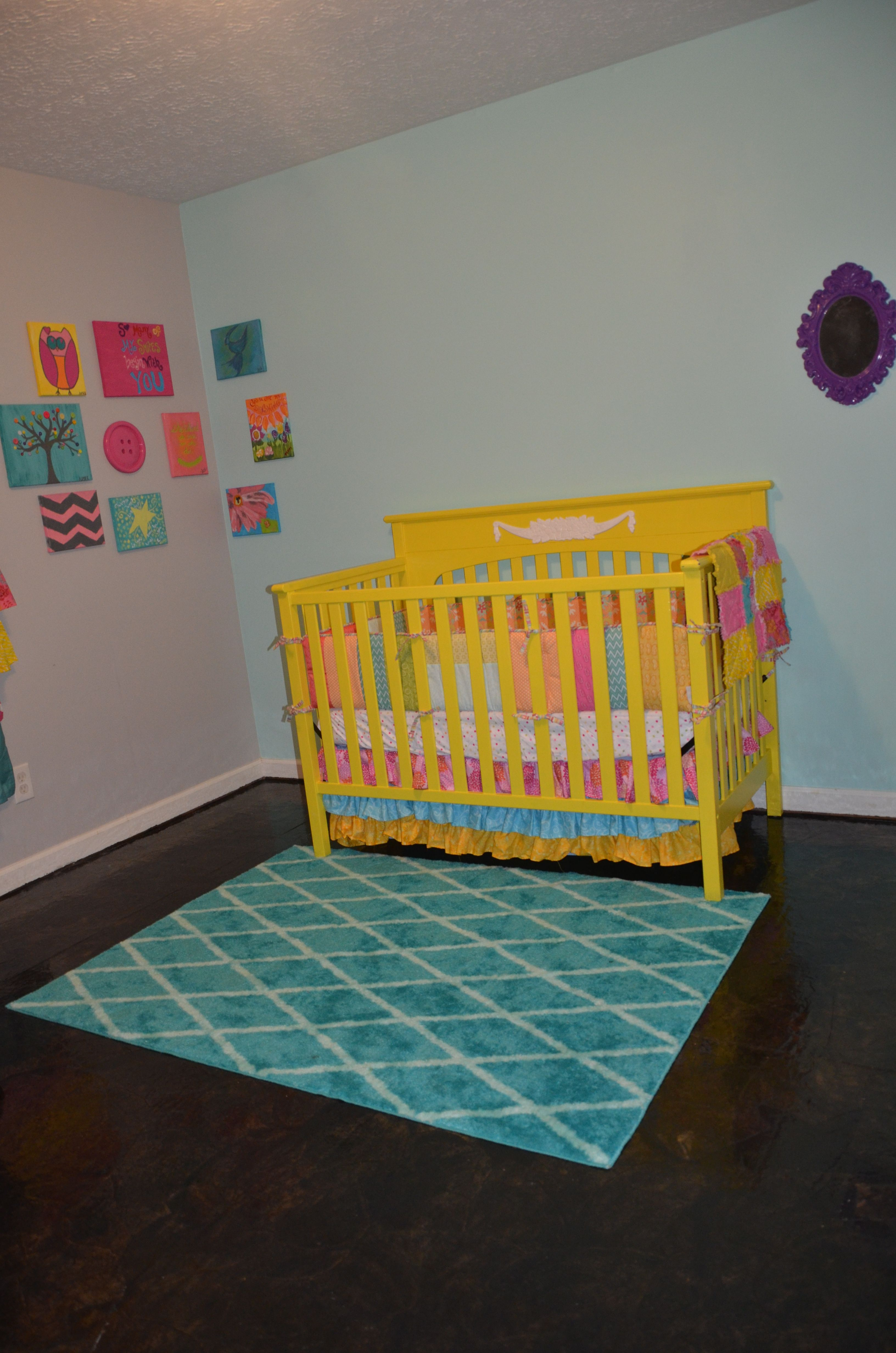 Paperbag Floor, Painted Crib/added Molding Scroll, Target