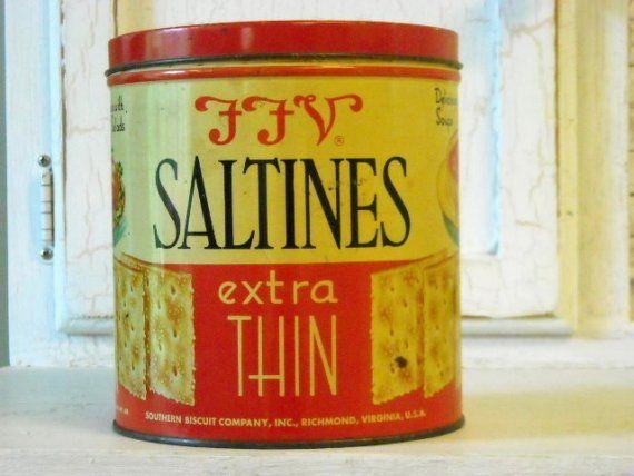 Vintage FFV Famous Food Of Virginia Cracker Tin Can Advertising Display Saltine