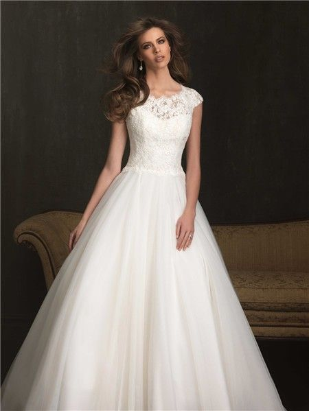 Modest Ball Gown Cap Sleeve Lace Tulle Wedding Dress With Buttons ... 63a9f22eb59d