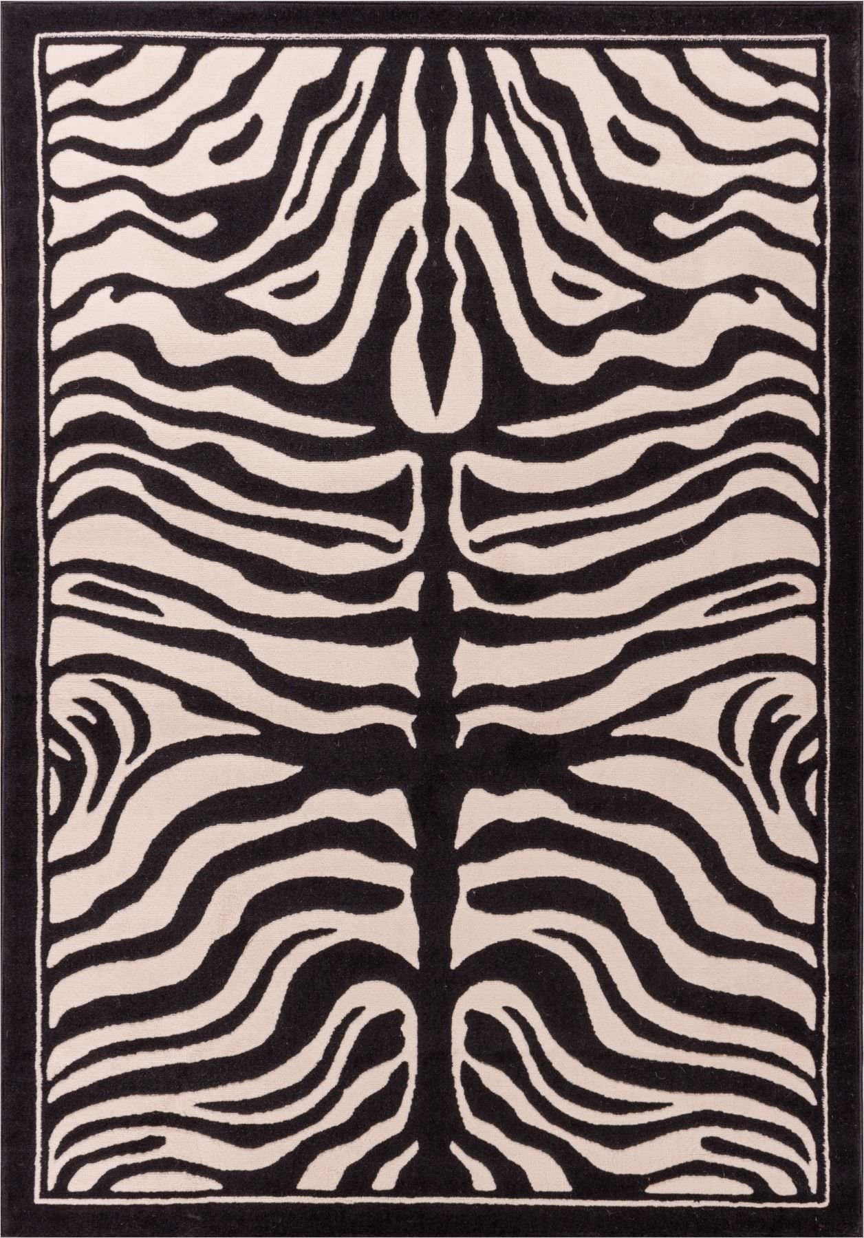 Modern Rugs Timeless Zebra Black and Beige Carving Animal Area Rug