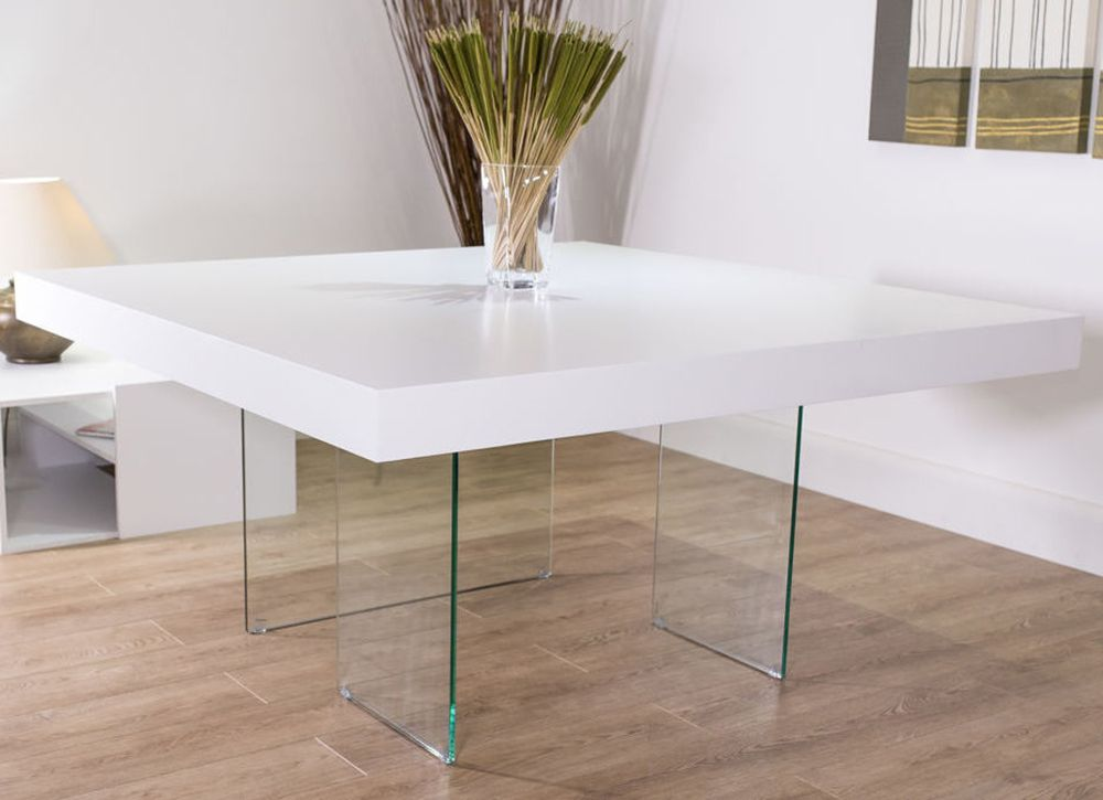 Aria White Oak And Glass Square Dining Table Square Dining