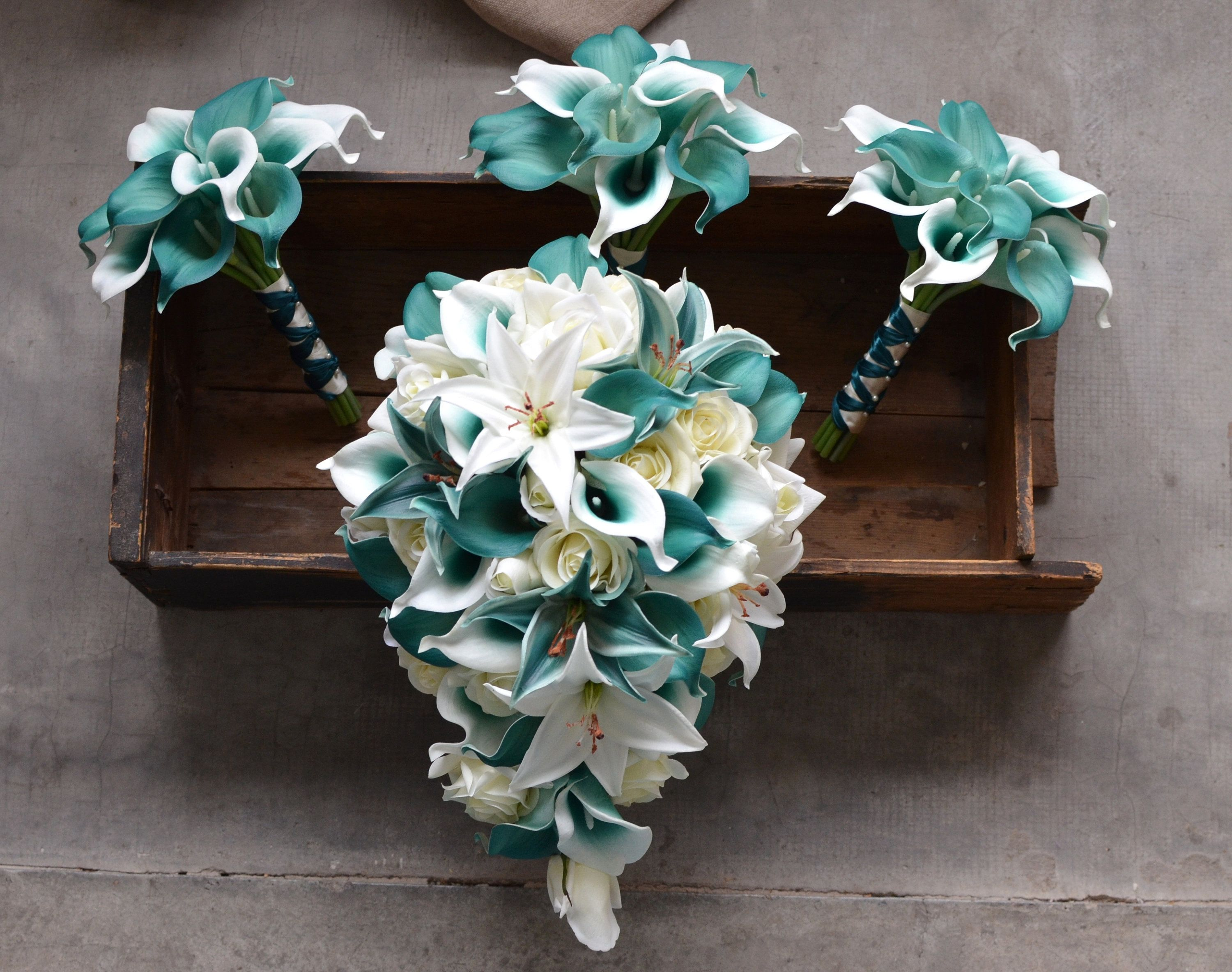 Teal Bridal Bouquets, Teal Tiger Lily Roses Calla Lily