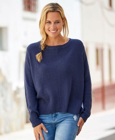 95042d34 Redhill skjortegenser Ribbestrikket genser med vevd skjorterygg ...