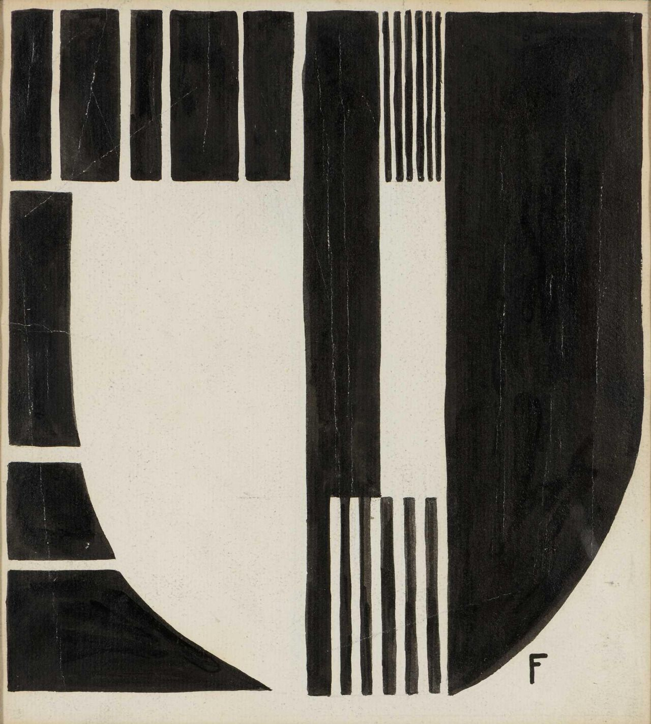 Otto Freundlich (German, 1878 - 1943) Thesis, synthesis, antithesis, 1937Indian ink on paper, 25.5 x 23.4 cm