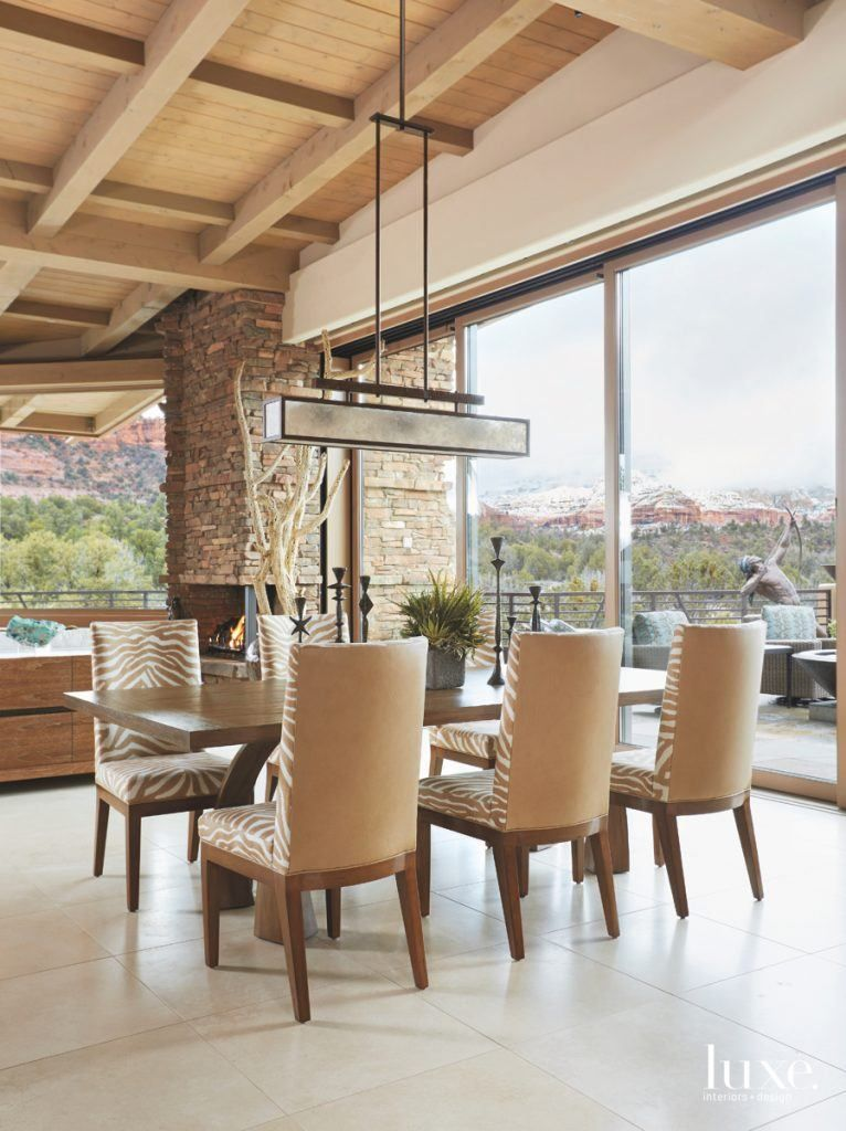 Step Inside A Sedona Sanctuary On The Rocks  Fabric Dining Chairs New Zebra Dining Room Chairs Inspiration Design