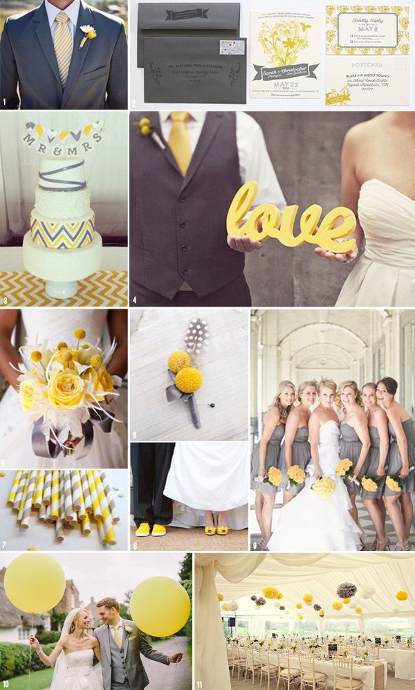 3a6ebe055502 Elegant and cheerful yellow and grey mood board  wedding