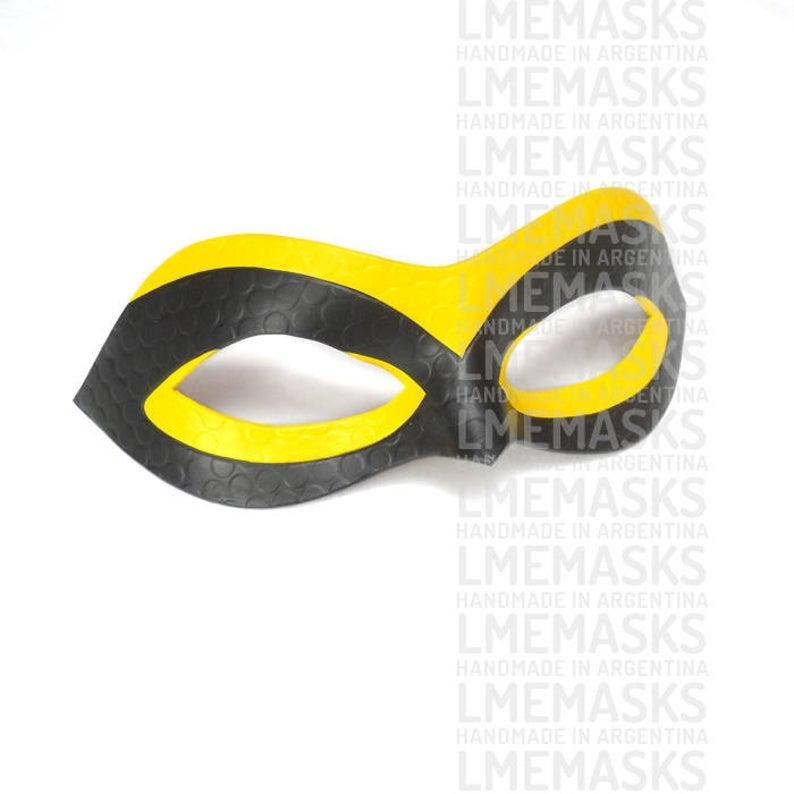 Queen Bee Leather Mask Miraculous Ladybug Yellow Black Cosplay Etsy Leather Mask Miraculous Costume Miraculous