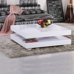 Modern High Gloss White Square Coffee Table With 2 Layers And