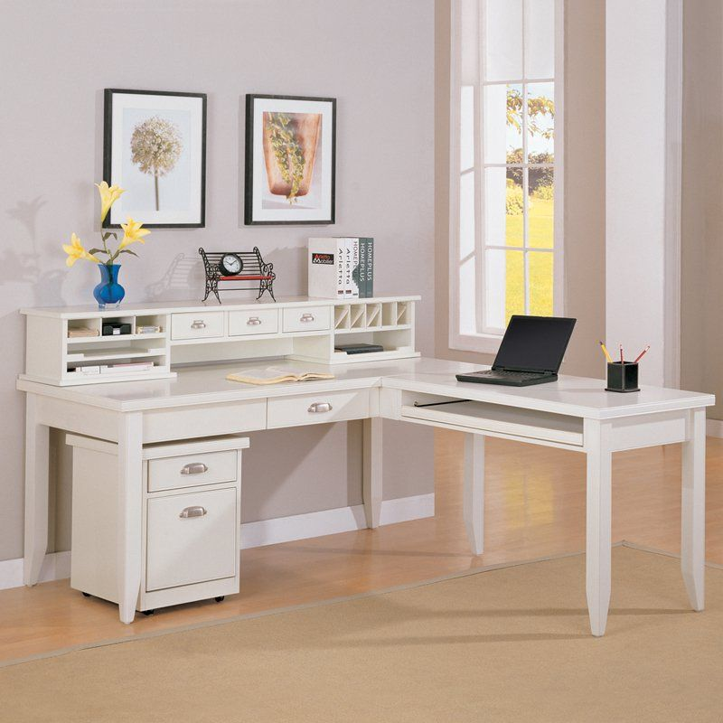 Kathy Ireland Home By Martin Tribeca Loft L Shape Desk With Hutch In White Furniture