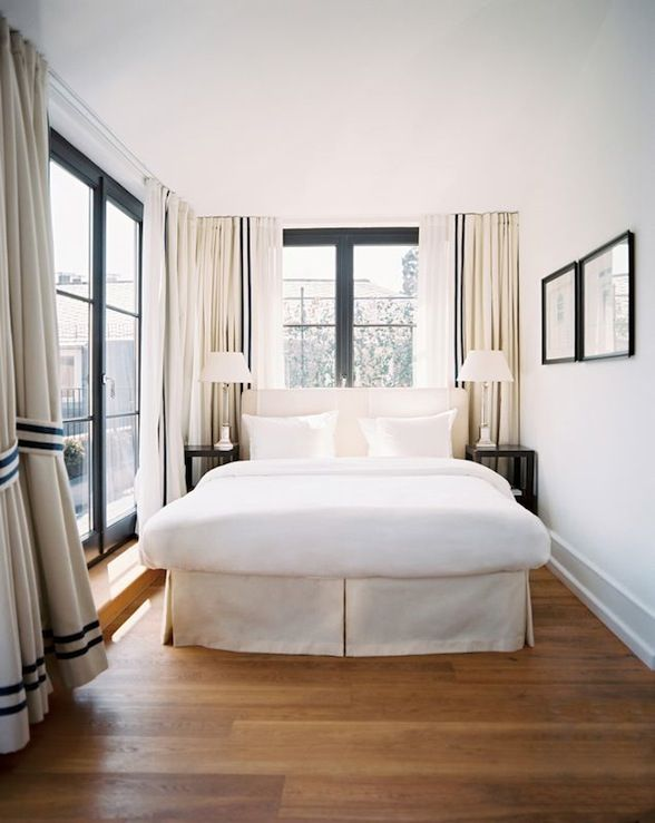 long, narrow bedroom... keep it simple. - May consider putting our ...