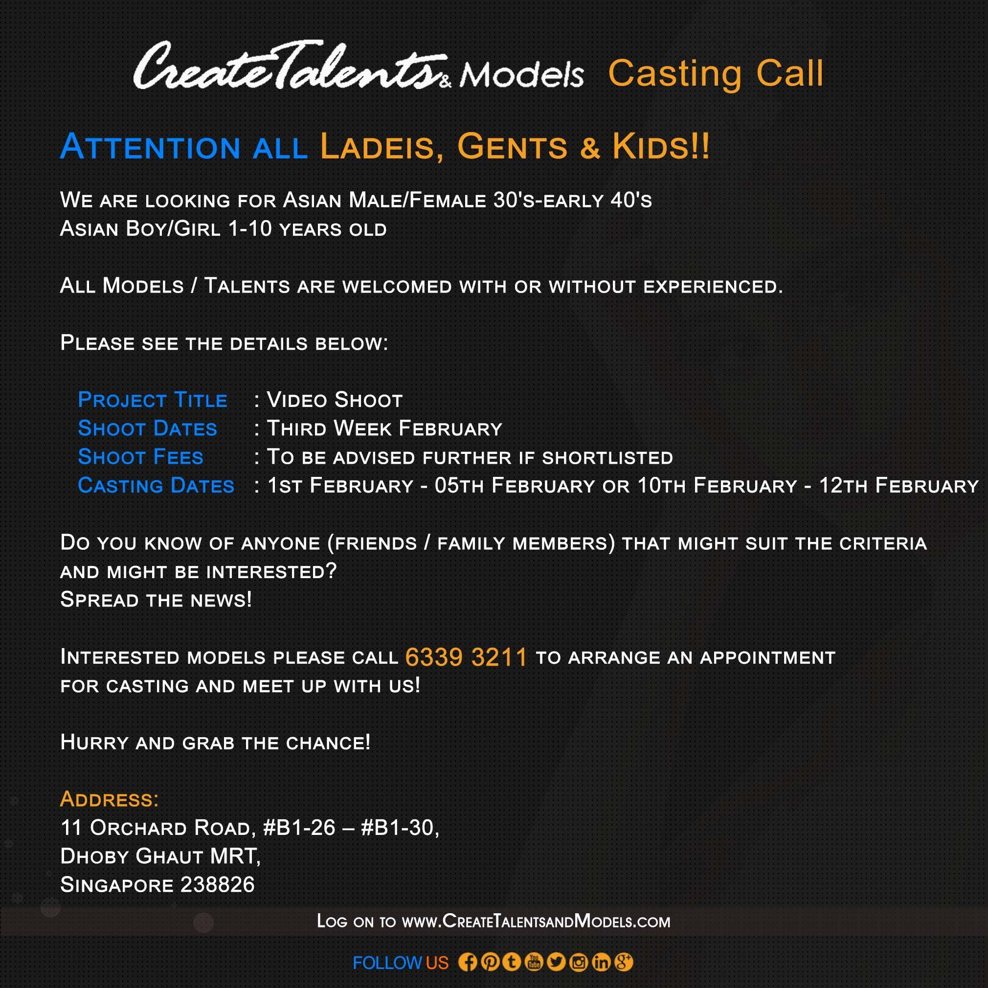 We are looking for Asian Male/Female 30's-early 40's Asian Boy/Girl 1-10 years old for Video Shoot