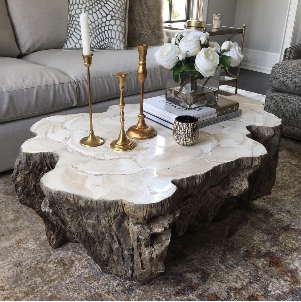Petrified Wood Coffee Table 4 500 Coffee Table Coffee Table Wood Modern African Decor [ 1243 x 1242 Pixel ]