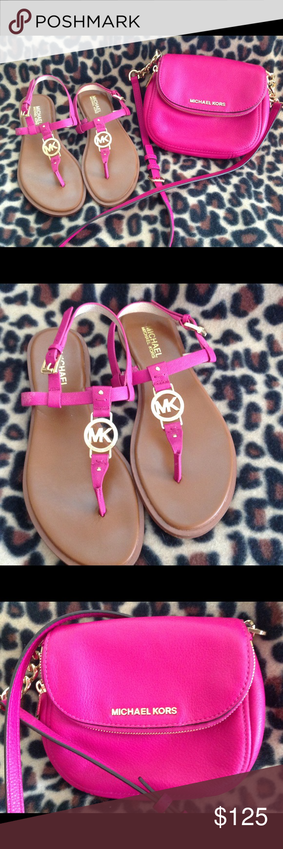 40a6eabae4e274 Michael Kors Sandals and Matching Crossbody Bag Bright fuchsia Michael Kors  flat logo sandals with matching cross body bag. Beautiful color fuchsia  with ...