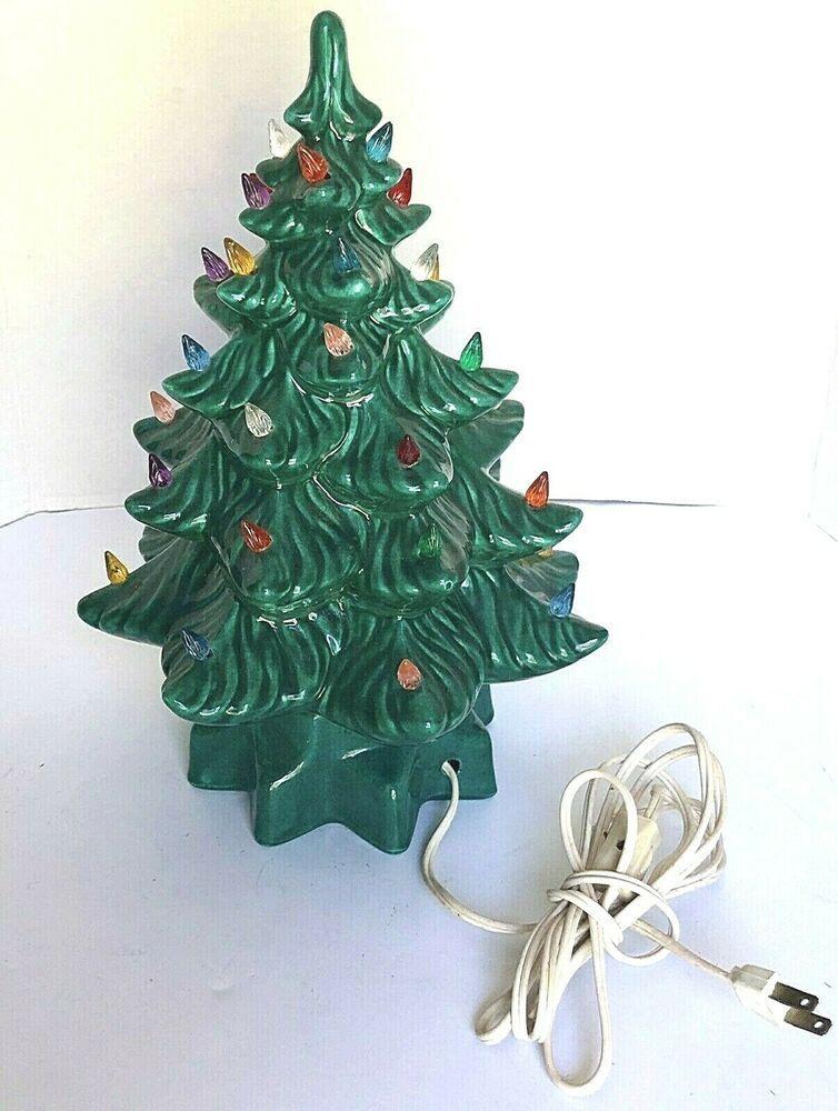 Vintage Atlantic Mold Ceramic Christmas Tree 14 Lighted Working Atlanticmo Ceramic Christmas Trees Ceramic Christmas Tree Lights Ceramic Christmas Tree Bulbs