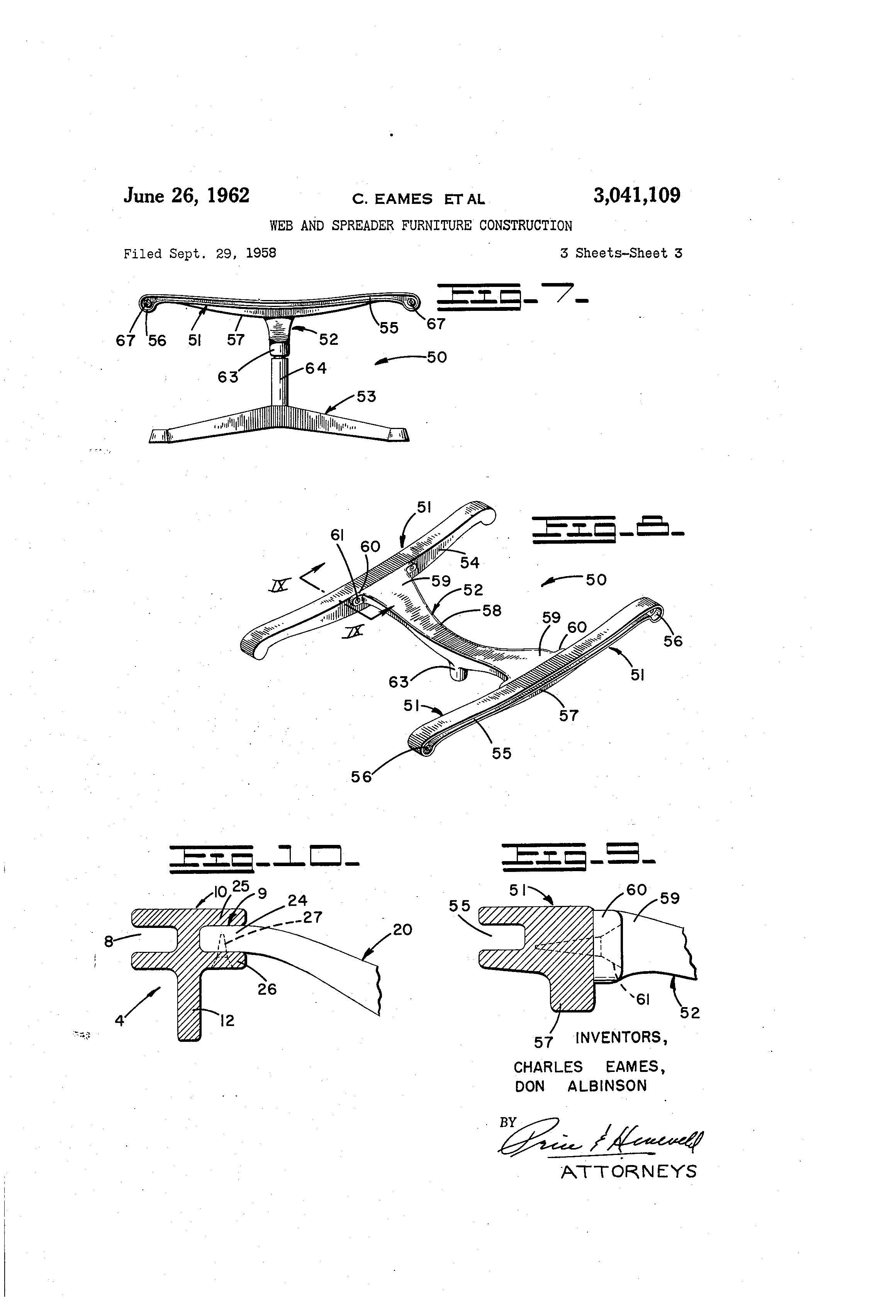 Eames Chair Patent Eames Aluminum Group Original United States Patent Office