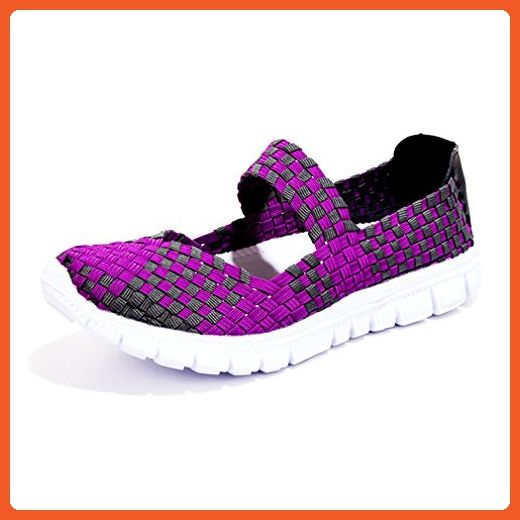 4a2d21f45719d DEARWEN Women's Breathable Slip-On Walking Shoes Purple US 8.5 ...